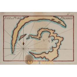 Isle and Port Pelerizi old chart by Roux 1764