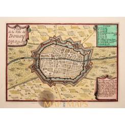 Plan Douai, Douay North France, Dowaai antique map by Beaulieu 1688