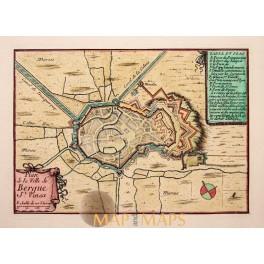 ANTIQUE MAP BERGUES-SAINT-WINOCQ Ville Bergue St. Vinox FRANCE BY BEAULIEU 1688