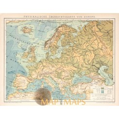 Europe Physical map high and depts Europe Countries 1905