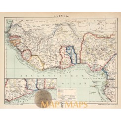 Antique Old map Guinea, Gold and slave coast 1905