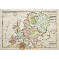 Europe map old map L'Europe Par Mr. Bonne 1787