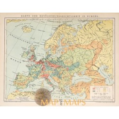 Europe map Population density in Europe by Meyer 1905