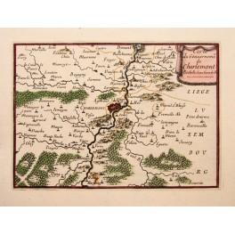 1688 antique map Charlemont Belgium River Meuse by Beaulieu