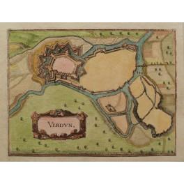 Fortress Verdun France antique map Matthaus Merian 1659