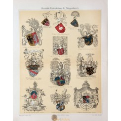 Heraldry Symbols, Antique Print Coat of Arms 1905