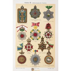 World Orders Decorations, Antique Print Medals 1905