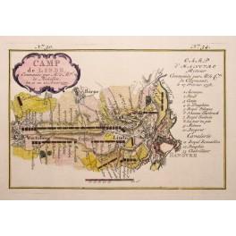 1757 map CAMP DE LINDE, Linden Hannover Germany. v. Schley