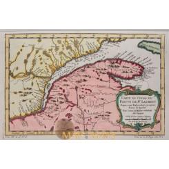 Carte Du Cours Du Fleuve De St. Laurent Canadaby Bellin 1757