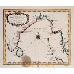 Oriental map Gulf of Bengal Ceylon Siam Bellin 1740