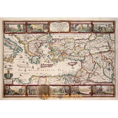 The Travels of St. Paul Bible map Moxon 1714