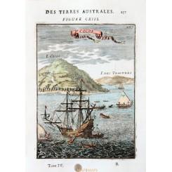 Tonga antique map Tafahi or Cocos Island Mallet 1683