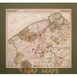 Flandriae comitatus Flanders Belgium map Visscher 1716.