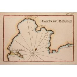 Castle Bay Monemvasia Greece old chart by Roux 1764