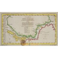 Détroit de Magellan Straits of Magellan antique map Bellin 1753
