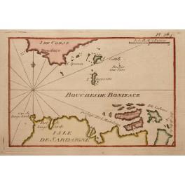 Corsica Sardinia Bonifacio Islands old map Roux 1764