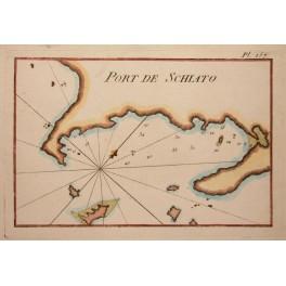 Port of Skiathos Island Greece old chart by Roux 1764