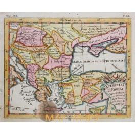 La Turchia Turkey in Europe antique map by Buffier 1767