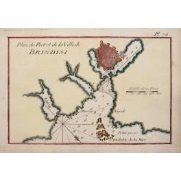 Port et de la Ville de Brindisi Italy antique paln Roux 1764