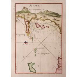 Sicilia Sicily Trapano Sicilia Italy antique map by Roux 1764