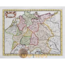 GERMAN EMPIRE LES X CERCLES D'ALLEMAIGNE MAP Briet 1649