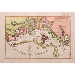 Lagunes de Venice Venise Italy antique map Roux 1764