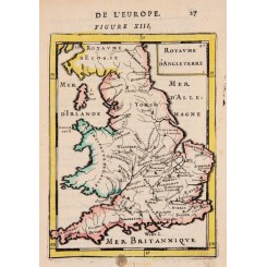 Kingdom of England Old map Allain Manesson Mallet 1683