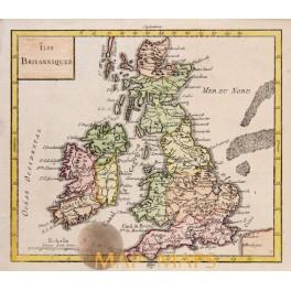 England Scotland Wales Ireland old map Vaugondy 1750