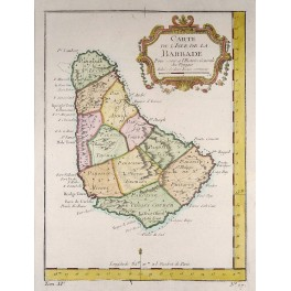Barbados Caribbean Sea old antique map Bellin 1754