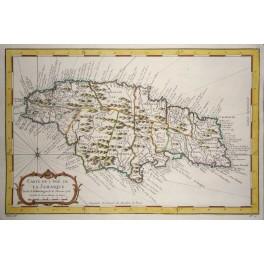 Caribbean Jamaica America old antique map Bellin 1754