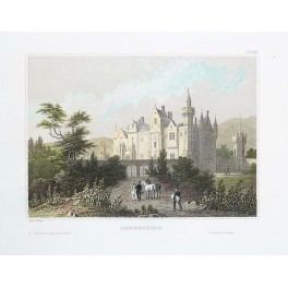 Abbotsford House of Walter Scott, old antique print 1838