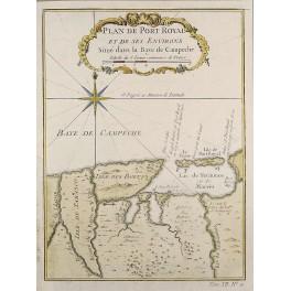Antique maps of Mexico Island de Tabasco/Island des Bœufs by Bellin 1754
