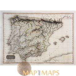 Spain Portugal Large Atlas Map by Cadell & Davies 1810