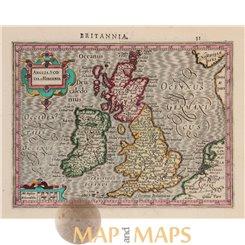 British Isles map Anglia Scotia Mercator Hondius 1634
