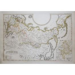 Russia Siberia North America Original antique map Karl Spruner 1846
