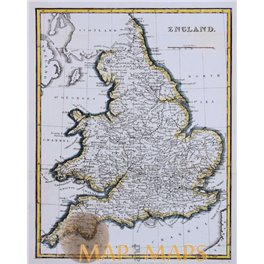 1840 Fine antique map hand England by G. Virtue