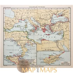 Greece History antique map Cyprus Justus Perthes 1893