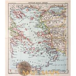 Crete Antique map Aegean Sea Justus Perthes 1893