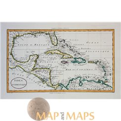 West Indies Gulf of Mexico Antique Map Blondeau 1820