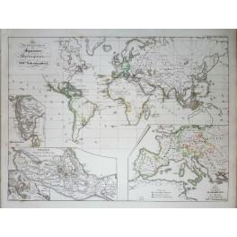 Antique map Spanish/Portuguese Possessions in the XVI century Karl Spruner 1846