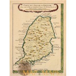 Granade Island, antique map, Caribbean Sea, Bellin1758