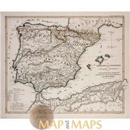 SPAIN PORTUGAL - CORDOBA - HISTORICAL ORIGINAL ANTIQUE MAP - KARL SPRUNER 1846