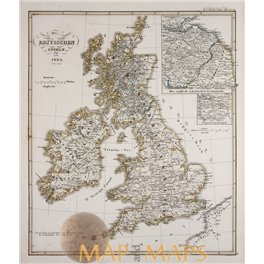 The British Isles since 1485 ANTIQUE OLD MAP SPRUNER 1846