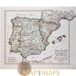 SPAIN ARAGON PORTUGAL MALLORCA ORIGINAL ANTIQUE MAP - KARL SPRUNER 1846
