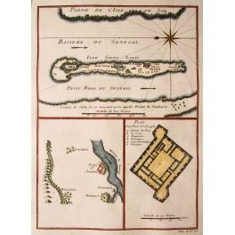 Isle St. Louis, Fort St. Joseph, Antique Map Bellin 1750