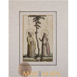 Tree of Live Adam and Eve fine colored print 1780