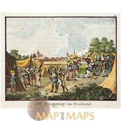 Stralsund siege antique print Germany by Hellfahrt 1832