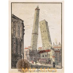 Bologna antique print of the hanging towers Hellfahrt 1832.