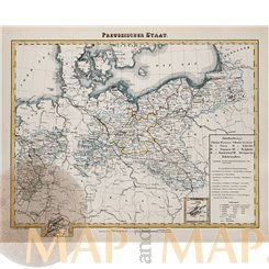 Germany, Railway map antique print by Stieler 1875