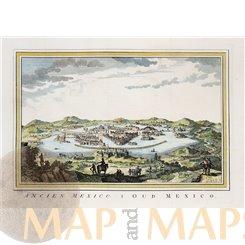 Mexico city Antique print ancient Tenochtitlan by Bellin 1754